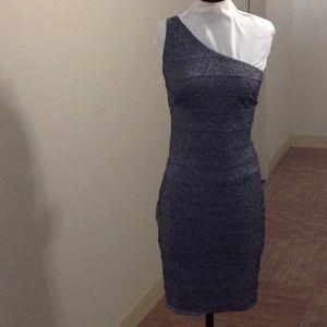 Forever21 plus gray silver shimmer 1 sleeve dress.
